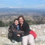 Reema and her son Luc enjoying views from Oppède Le Vieux in Provence - © ReemaFaris.com