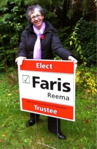 Reema Faris - West Vancouver School Board Trustee with campaign sign