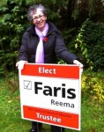 Reema, installing a 2011 election campaign sign, ReemaFaris.com