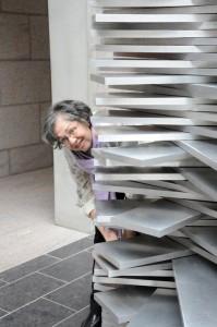 Reema , peeking from behind a National Art Gallery of Canada installation in Ottawa - © ReemaFaris.com