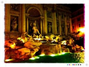 A stylized photo of Rome's Trevi Fountain at night. | ReemaFaris.com