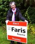 Reema, installing a 2011 election campaign sign, ReemaFaris.com