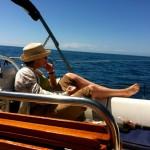 Reema, contemplating the vastness of the Mediterranean off the coast of Italy - ReemaFaris.com
