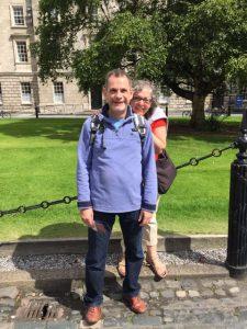 Reema and her cousin Emile in the quadrangle of Trinity College in Dublin, Ireland.
